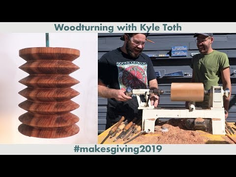 Turning A Wood Lamp Shade with KYLE TOTH!!!