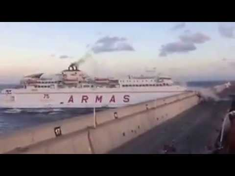 Spanish Ferry crashes into dock