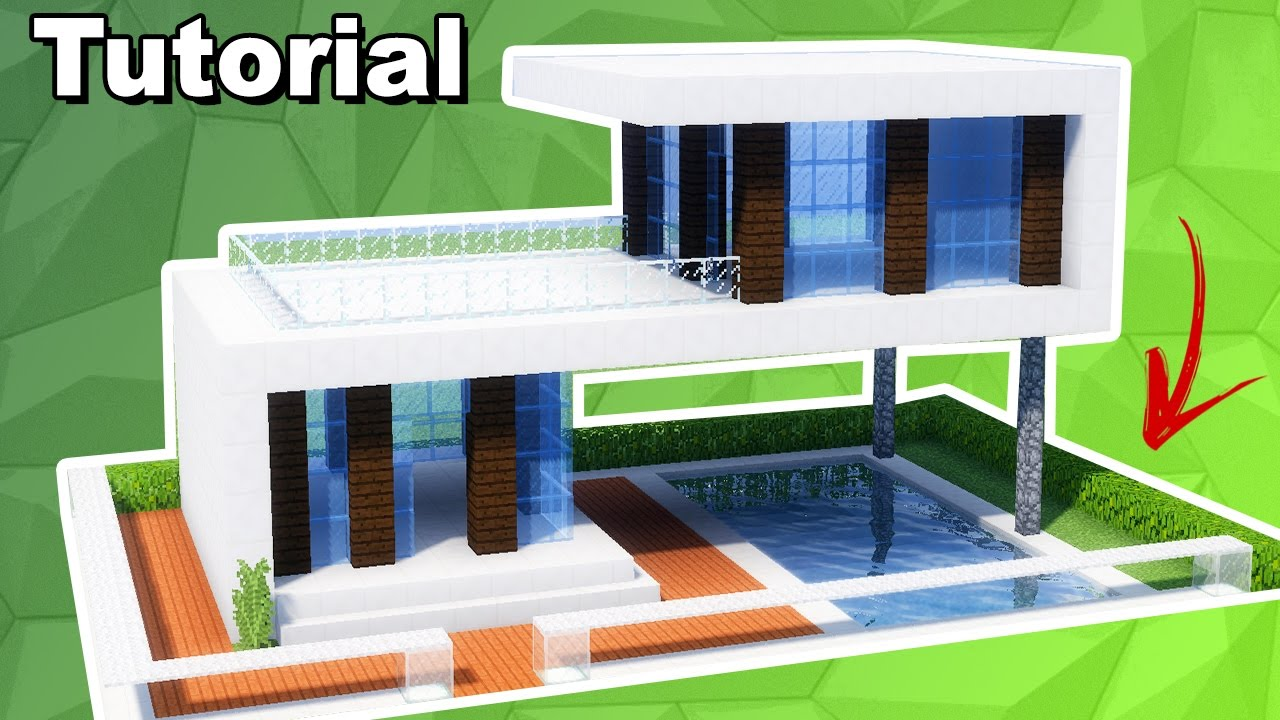 Minecraft tutorial casa moderna com piscina manya for Tutorial casa moderna grande minecraft