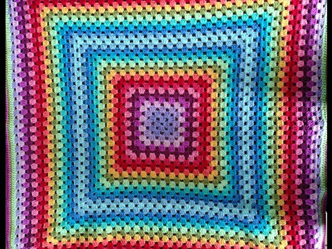 manta cuadrado granny crochet ganchillo - YouTube