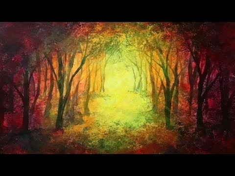 Sponge Painting a Surreal Forest Acrylic Painting Demonstration