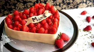 Erdbeerherz zum Muttertag - Erdbeertorte mit mehlfreien Schokoböden & fruchtiger Creme - Kuchenfee