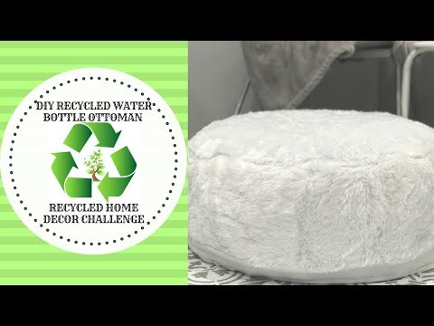 RECYCLED HOME DECOR CHALLENGE||DIY OTTOMAN