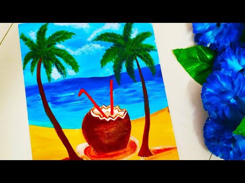 STEP by STEP ACRYLIC PAINTING TUTORIAL FOR BEGINNERS | Relaxing Beach Landscape Painting | Easy Art