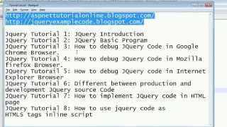 JQuery Tutorial 8 - How to use jquery code as HTML tags inline script