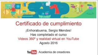 Certificado de Cumplimiento de Academia de Creadores de Youtube