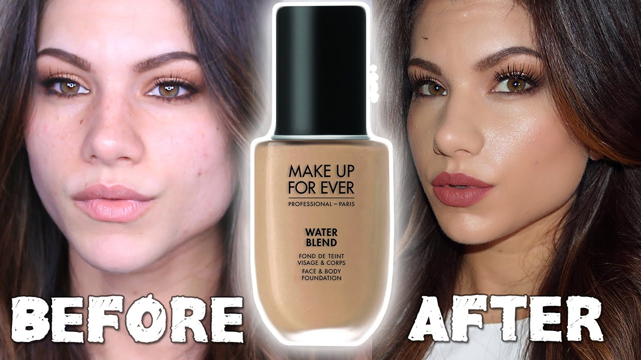 NEW MAKEUP FOR EVER Water Blend Foundation | First Impressions Review & Demo - YouTube
