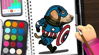 How to Draw a Captain Dog | Doodle Kids | Drawing and Coloring  for kids