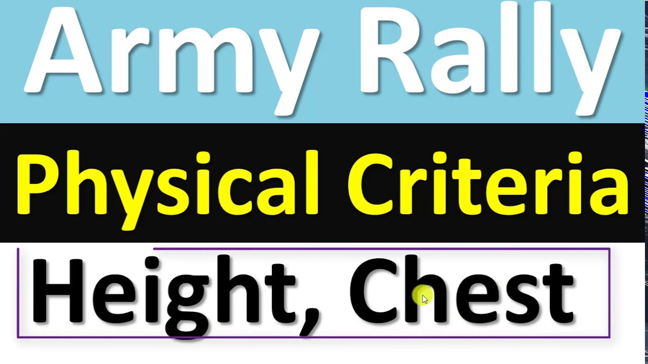 Army Rally Physical Criteria Minimum Height Weight Chest All