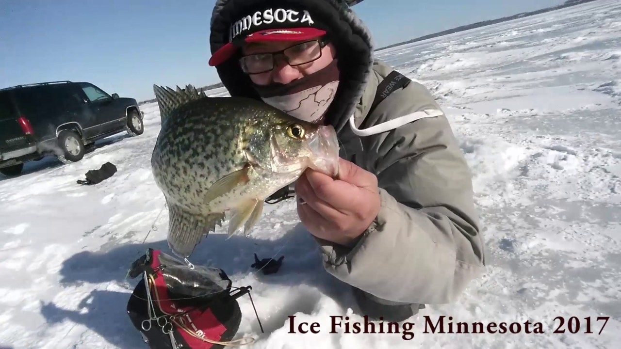 Big crappies on windy day ice fishing minnesota 2017 youtube for Ice fishing youtube
