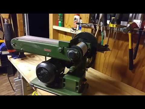 LSH:  Harbor Freight Central Machinery Sander Belt change and Disc-o review