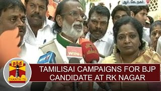 Tamilisai campaigns for Gangai Amaran at RK Nagar Constituency ahead of Election
