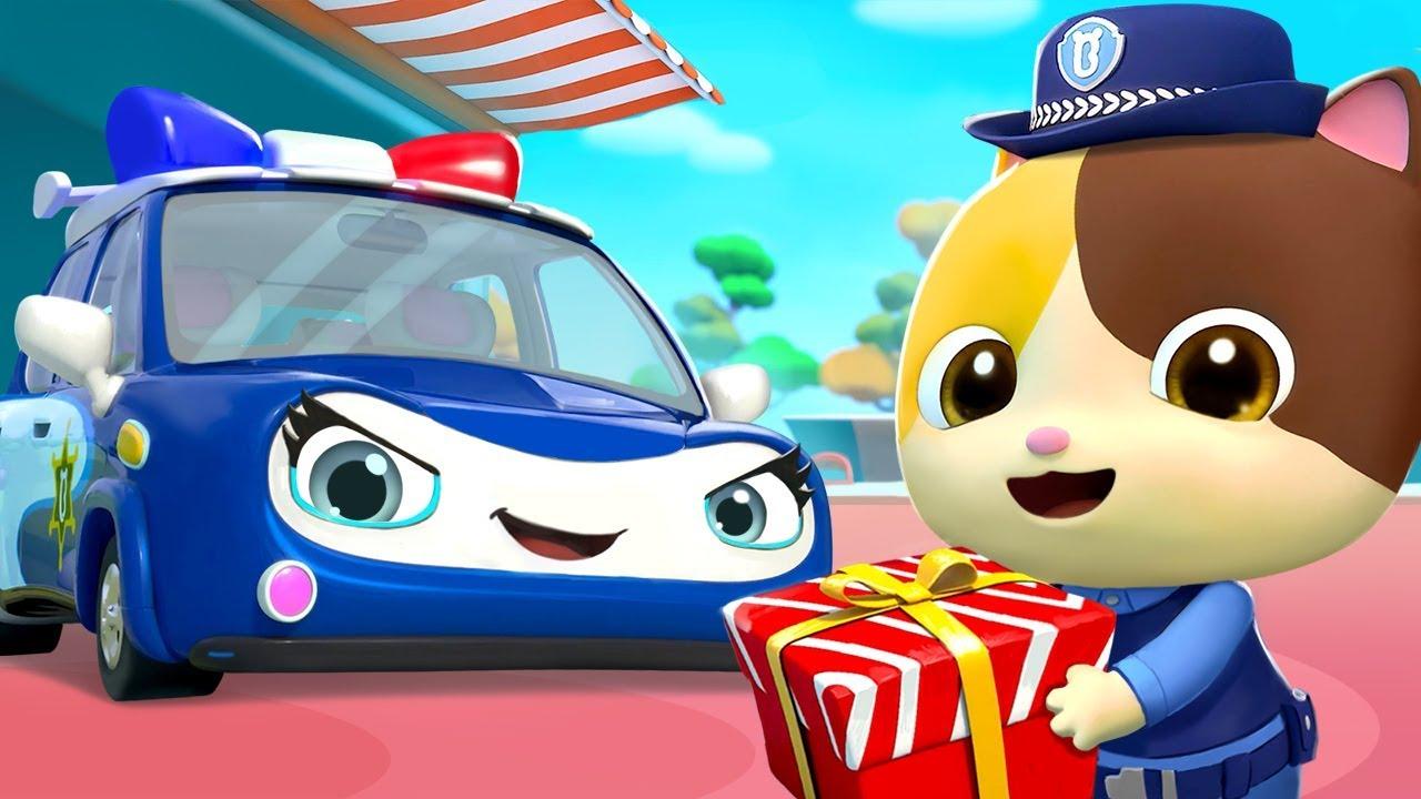 Xe cảnh sát đưa quà | Bài hát xe cảnh sát | Hoạt hình –  Nhạc thiếu nhi vui nhộn | BabyBus