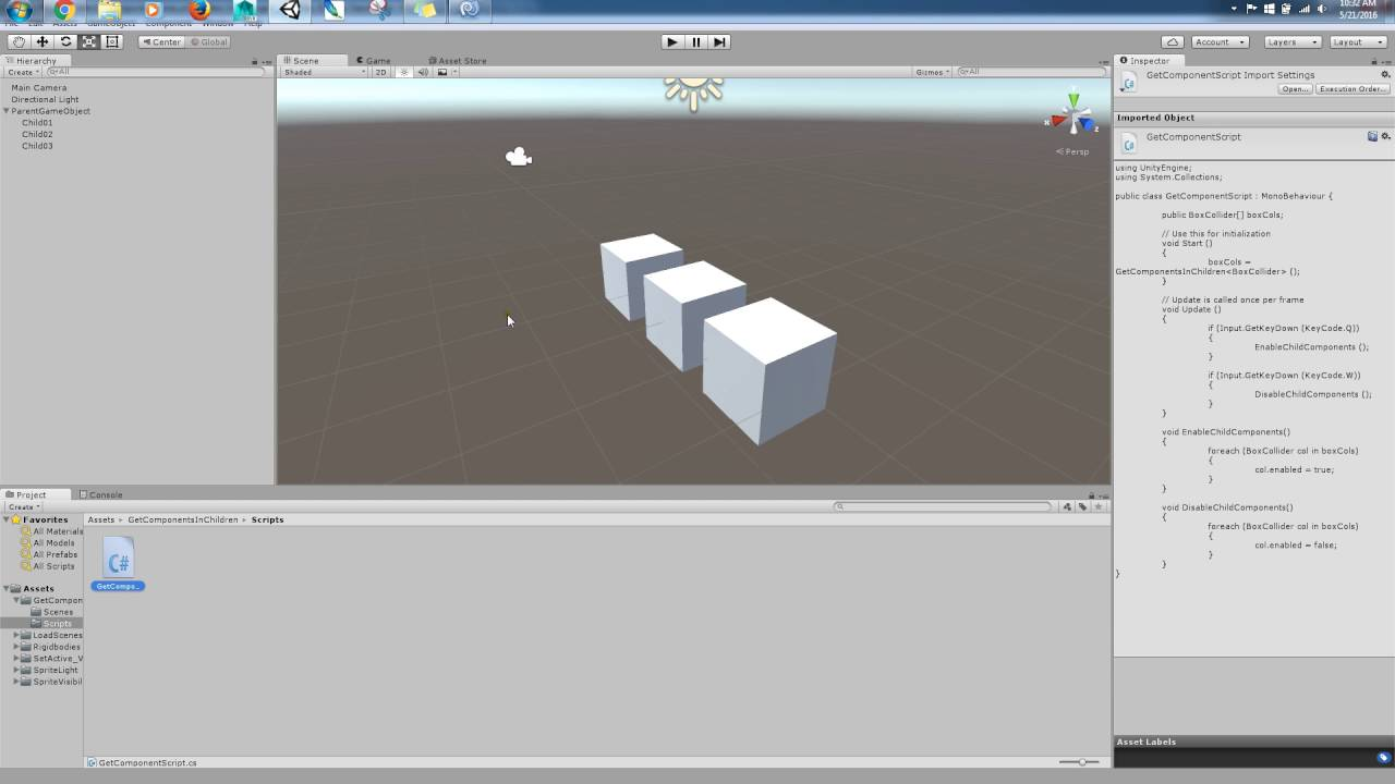Unity Tutorial: How to use access the children components in a game object  in Unity 5