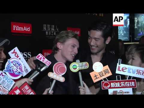 Jamie Campbell Bower and Godfrey Gao promote Mortal Instruments: The City of Bones in Hong Kong