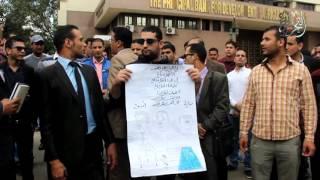 حاملو الماجستير ينظمون وقفة احتجاجية أمام البرلمان اعتراضا على عدم تعيينهم