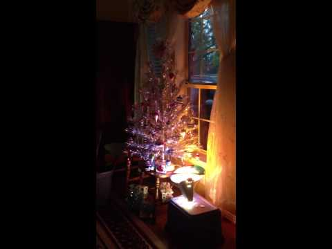 Silver Christmas Tree With Color Wheel Youtube