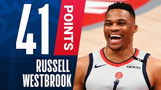 Russell westbrook goes off for 41 pts, 10 reb & 8 ast along with hitting the late go ahead triple to lead wizards over brooklyn in a thrilling finish!sub...