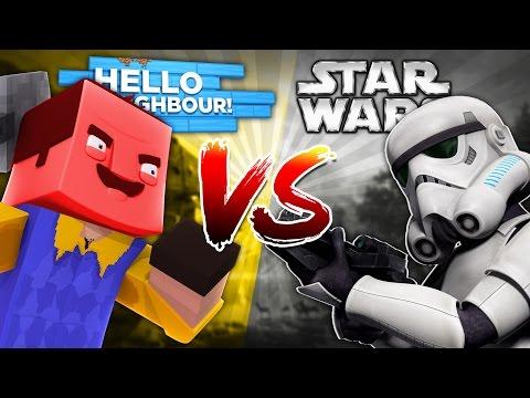Minecraft HELLO NEIGHBOUR VS STAR WARS - DONUT & SHARKY TURN INTO THE EVIL NEIGHBOUR - Donut the Dog