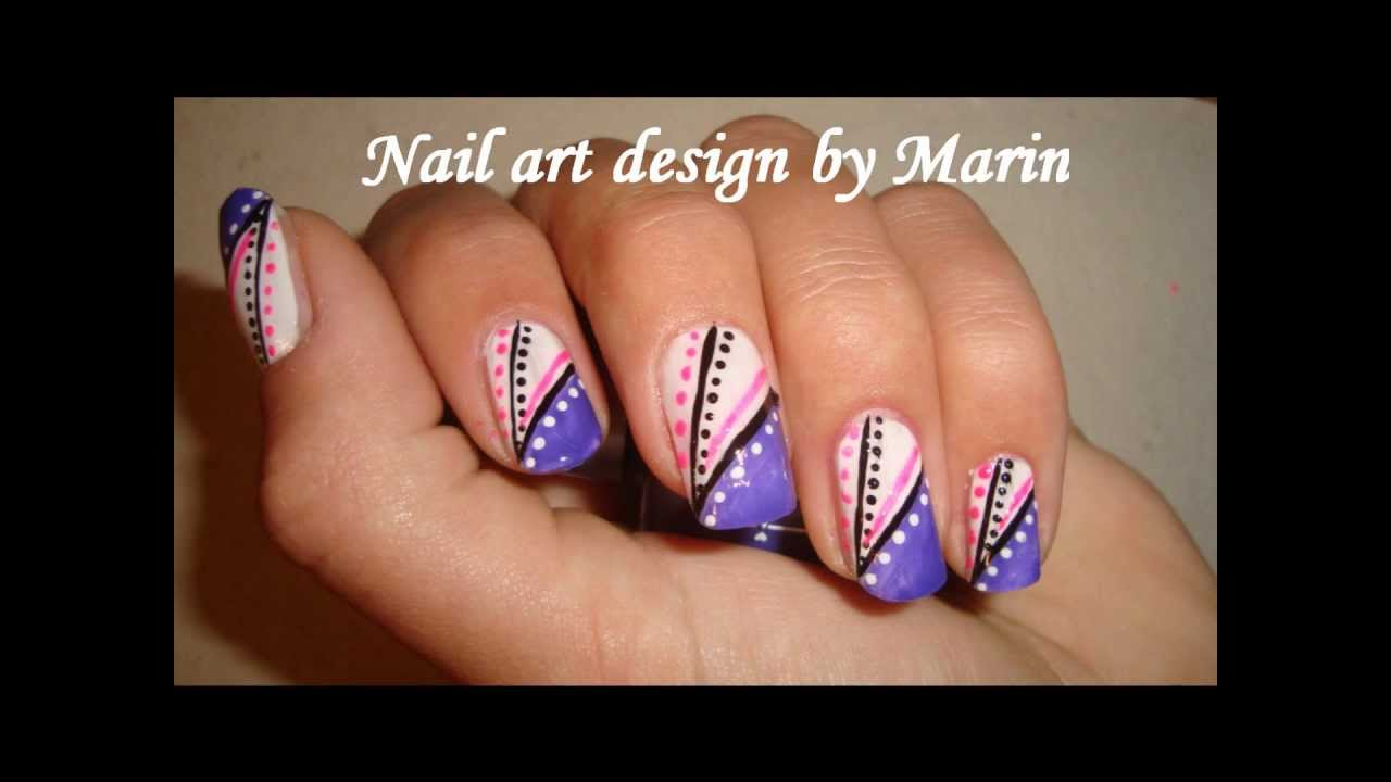 Nail Art Design Tutorial - Abstract (purple pink black white) - YouTube