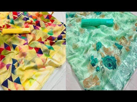 Floral Print Fancy Organza Silk Sarees With Blouse || organza sarees/printed organza/latest dress