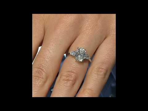 2 carat Oval Diamond 3-Stone Engagement Ring