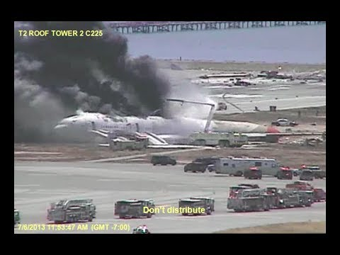 Asiana 214 - NEW CRASH AND RESCUE FOOTAGE 2017 - Airport Camera Video C225