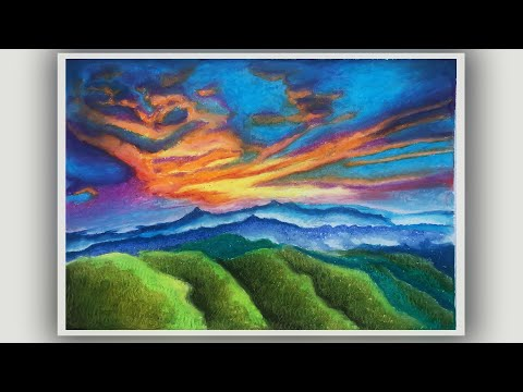How to draw Scenery of Sunset with Oil Pastel.Step by step | How to Draw Scenery for Beginners