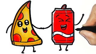 HOW TO DRAW A PIZZA AND SODA