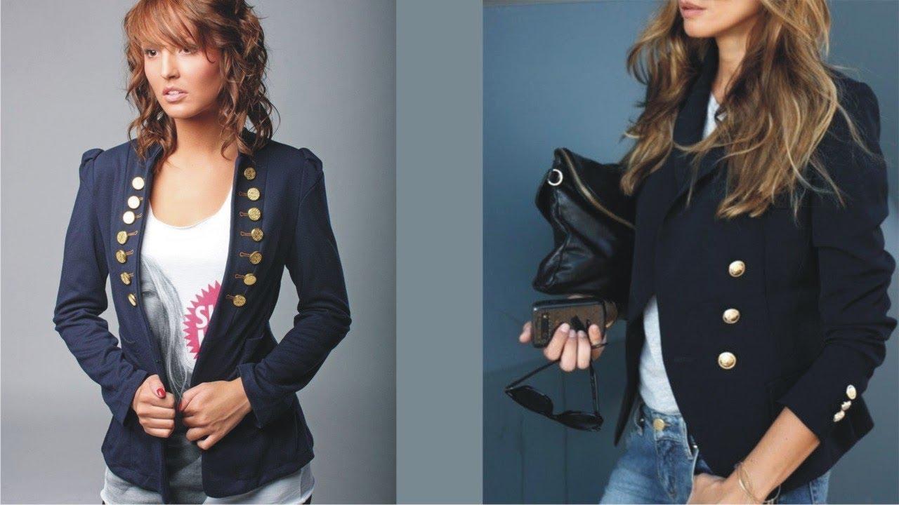 Modest Womens Navy Blue Blazer With Gold Buttons