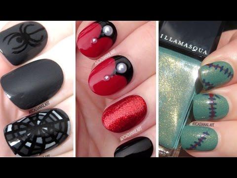 Halloween Nail Art - Vampire, Cobweb & Frankenstein Nails! - Halloween Nail Art - Vampire, Cobweb & Frankenstein Nails! - YouTube