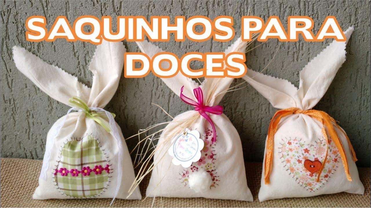 Decoração Aparador Atras Do Sofa ~ Artesanato Enfeites de Páscoa Passo a Passo Saquinho Para Doces YouTube