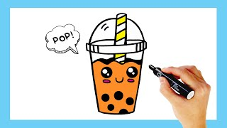 How To Draw Cute Boba Bubble Tea