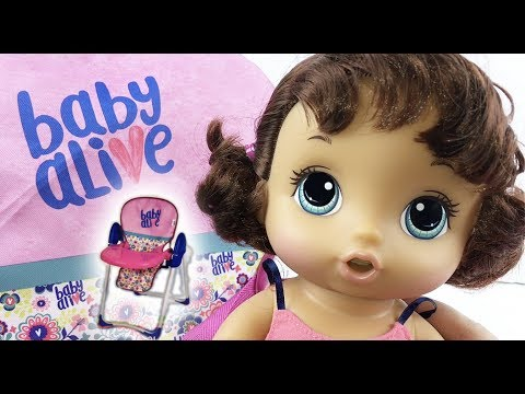 Baby Alive Doll Up N Down High Chair with Snackin Noodles Doll Feeding