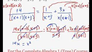 (Algebra 1) Rational Expressions - Solving an Equation #6 (W)
