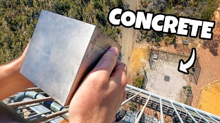 "WORLD'S HEAVIEST 4"" CUBE Vs. CONCRETE from 45m!"