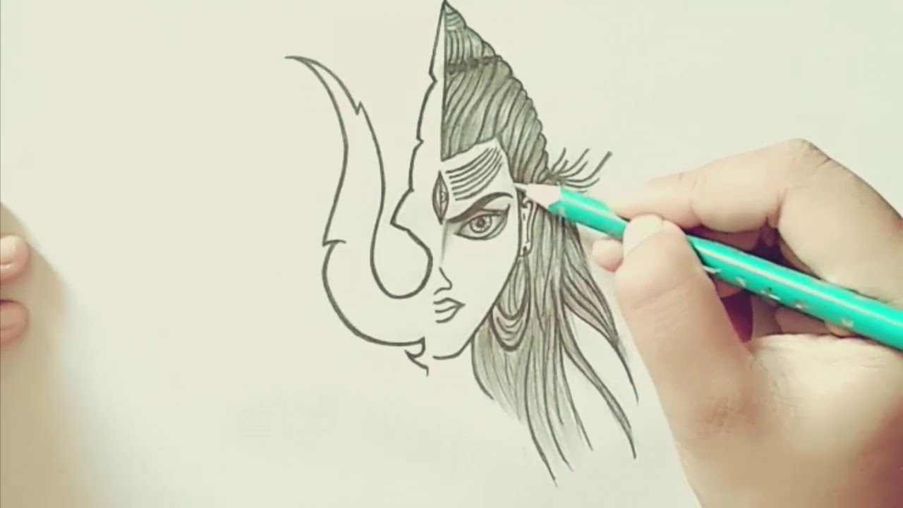 How To Draw A Sketch Of Lord Shiva Youtube