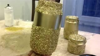 Bulgurdan gold dekoratif cam vazo yapımı, kavanoz boyama  2