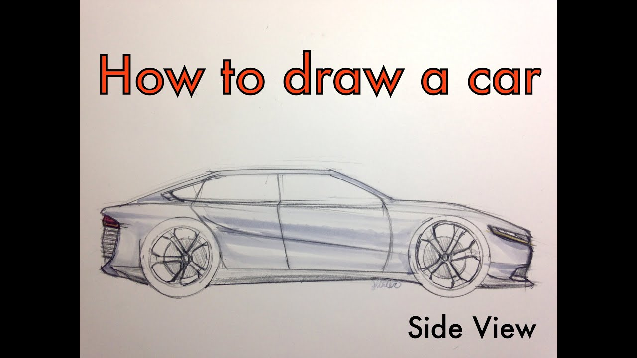 How to Sketch A Car (Side View Tutorial) - YouTube