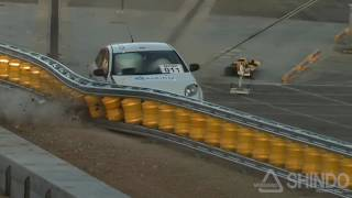 rolling barrier rolling guardrail mash tl3 sedan test