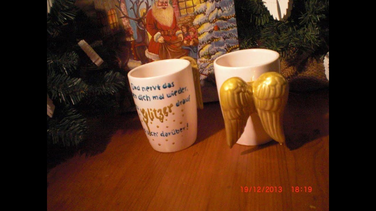 diy anleitung weihnachtsgeschenk tassen bemalen porzellanmalerei youtube. Black Bedroom Furniture Sets. Home Design Ideas