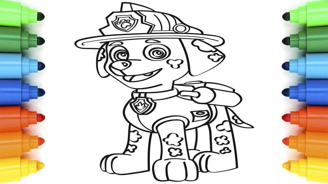 How to Draw Marshall Paw Patrol Coloring Pages for Kids ...