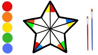 Glitter Rainbow Star coloring and drawing for kids and toddlers | Learn colors | ArtLand