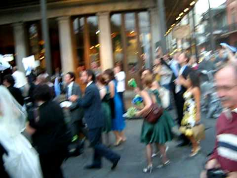 SECOND LINE Wedding Party New Orleans French Quarter Part One