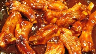 Barbecue Ribs - Oven Roasted Short Ribs In Hickory Smoke And Honey Barbecue Sauce - Poormansgourmet