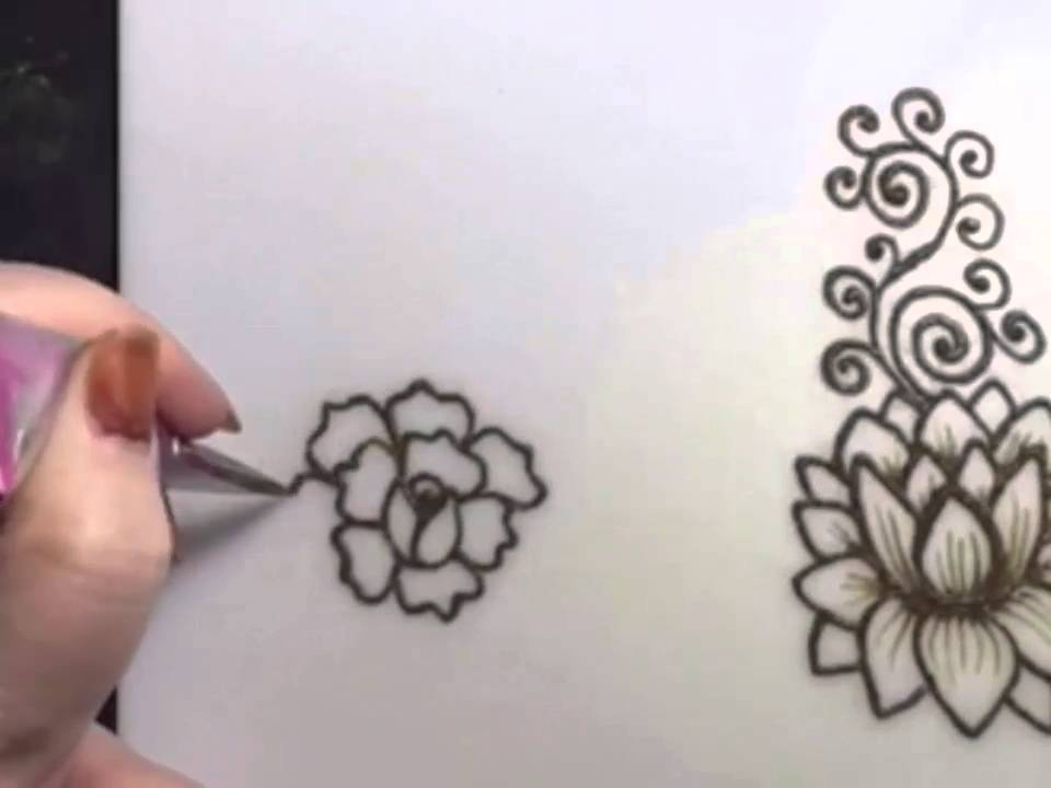 Lotus And 2 Roses In Henna Youtube