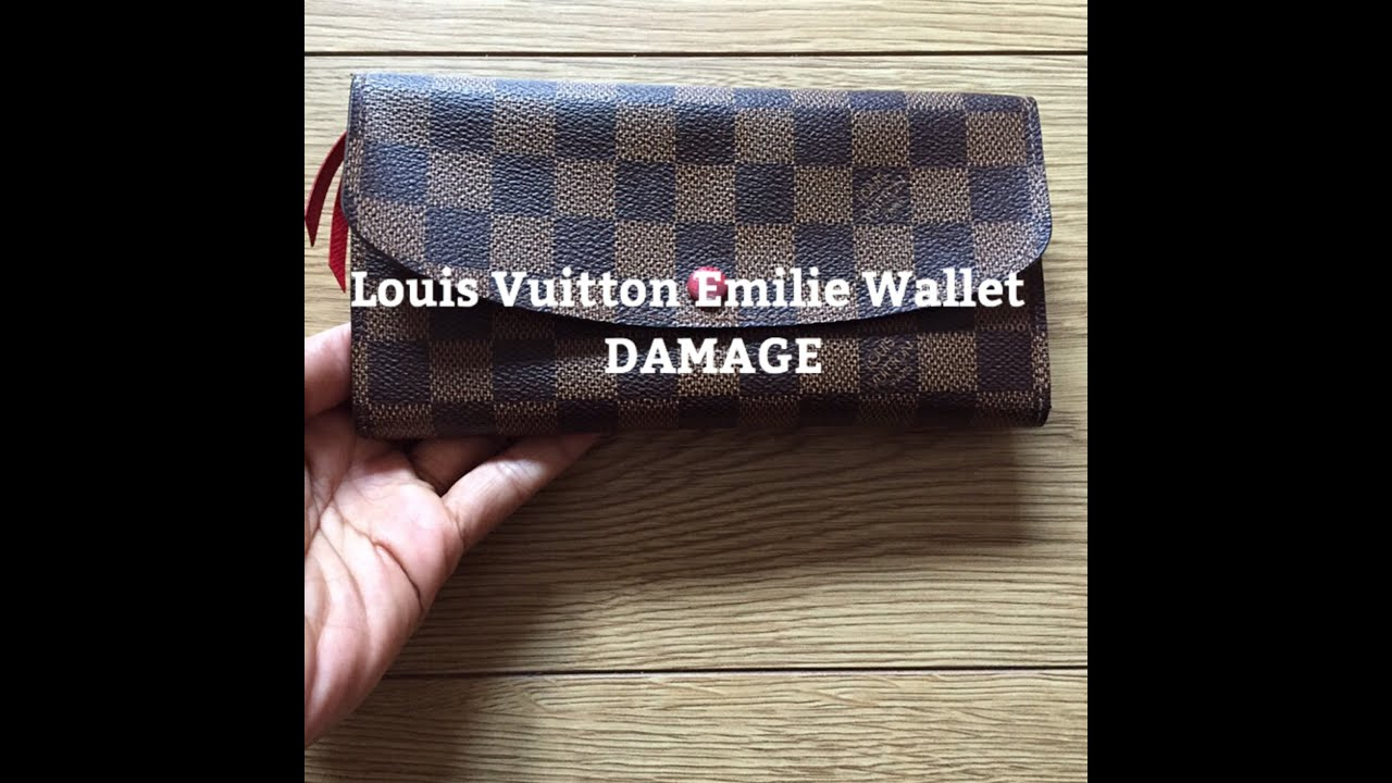louis vuitton emilie wallet damage youtube