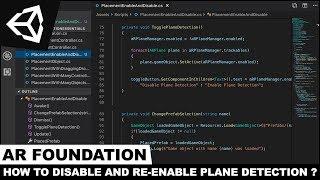 Unity3d ve AR Vakfı İle AR Uçağı Algılama Devre dışı bırakmak ve Etkinleştirmek nasıl ?