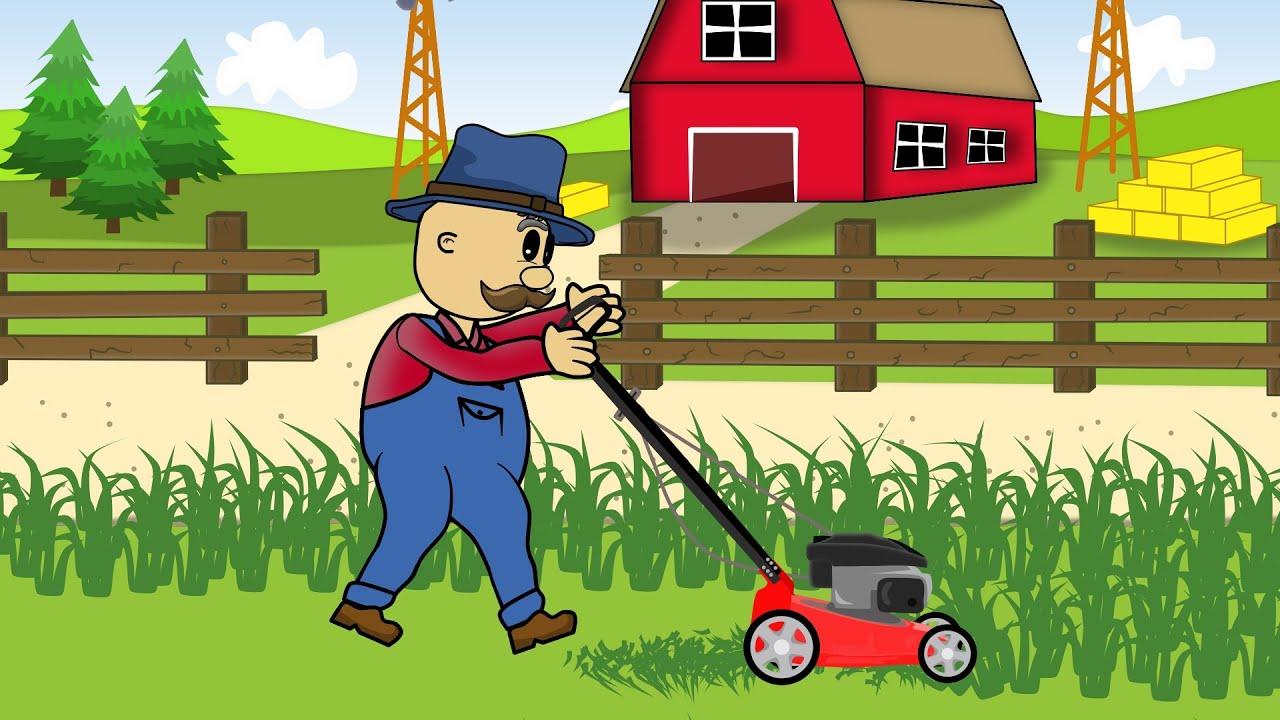 Farmer | Lawn Mower | Animations | Rolnik i Jego Kosiarka ...