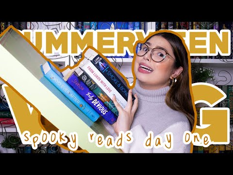 summerween reading vlog 👻 big unboxing, dosab and horror books!